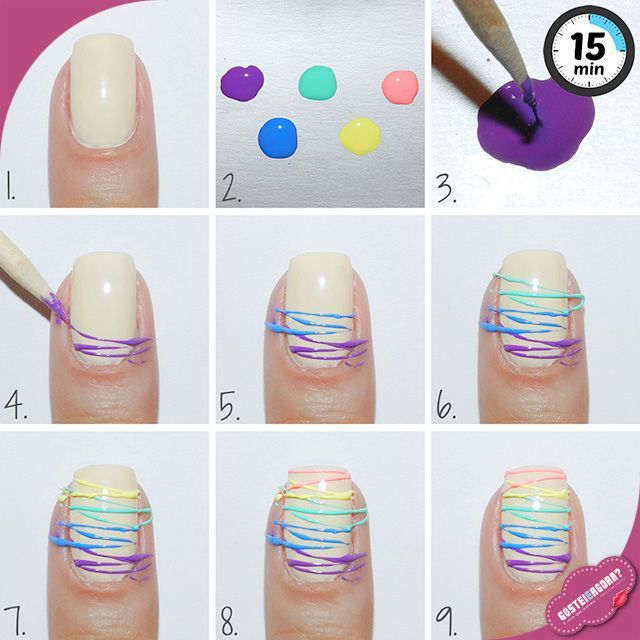 Sugar Spun Nail Art (1) Leave nail polish for about 10 minutes (2) Use a toothpick to pick up some nail polish and dab on your skin then quickly move to the other side, you will see it's forming a string (3) Let dry completely and clean up around cuticle (4) Seal with top coat so it lasts!