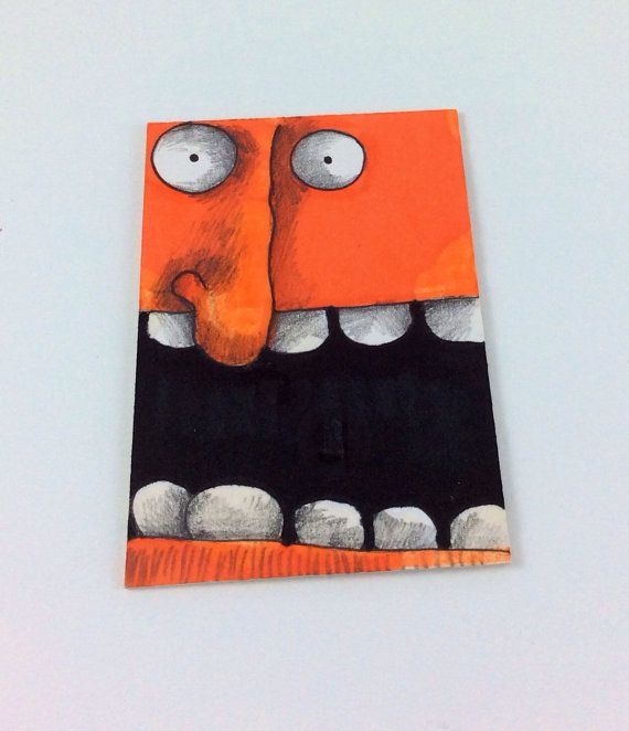 Orange Monster Original ACEO Drawing by Aaron Butcher on Etsy, $5.00