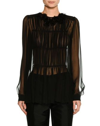 Long-Sleeve Pleated Sheer Chiffon Blouse by No. 21 at Neiman Marcus.