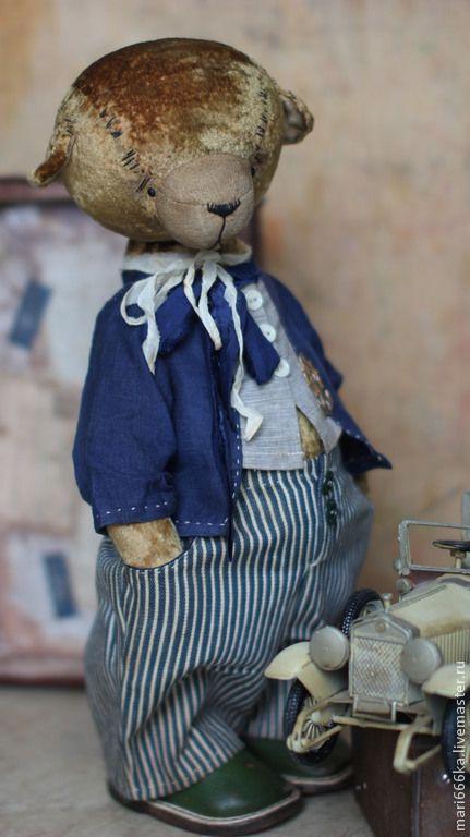 Купить Гарик - коричневый, тедди мишка, теддик, медвежонок, Плюшевый мишка, тедди, винтажный плюш