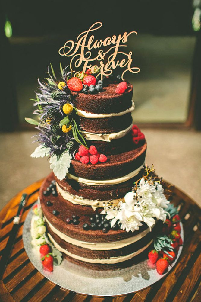 24 Rustic Wedding Cakes With Floral & Berry Decorations ❤ See more: http://www.weddingforward.com/rustic-wedding-cakes-photos/ #weddings