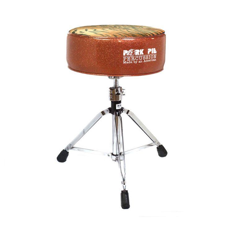 Pork Pie Orange Sparkle / Tiger Print Round Drum Throne Swivel Base