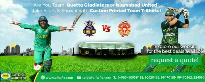 #United against #Gladiators Lets see how it goes!! Still wearing that regular #T_Shirt while watching match?? Order your #Team_T_Shirt right now if you are a Cricket #Fanatic!! #United VS #Gladiators  #alhafiz #alhafizservices #onestopshop #kuwait #Q8 #PSL #psl2018 order Online at:  http://www.alhafiz.com/Readymade-gift-items/Customized-T-Shirts