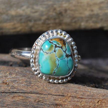 Turquoise Ring  Spiderweb Turquoise Ring  Blue by EarthsBountyGems