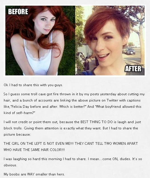 Critics of Felicia Day's New Haircut Don't Even Know What She Looks Like