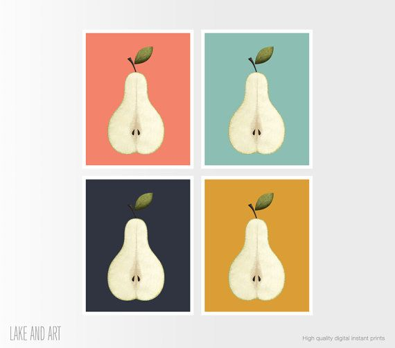 Pear Print Kitchen Decor Fruit Print Half Pear by lakeandart