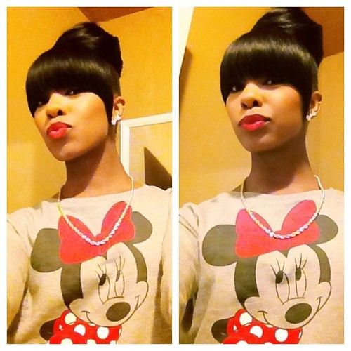 Prime 1000 Images About Buns And Bangs On Pinterest Top Bun Kim Short Hairstyles For Black Women Fulllsitofus