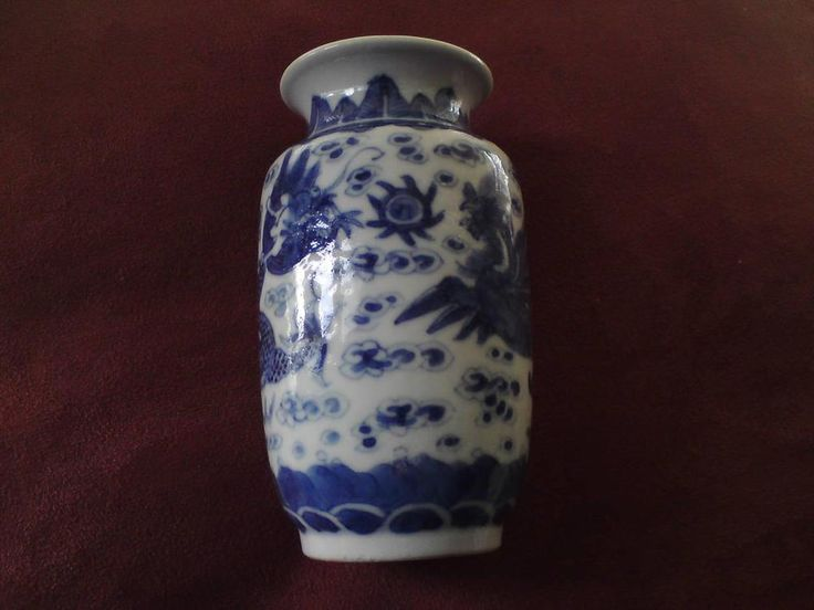Small Chinese Kangxi blue & white dragon phoenix chasing pearl vase