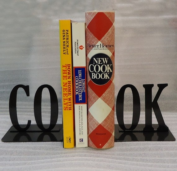 Kitchen Bookends: Cook Text Metal Art Bookends
