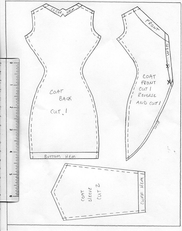 Barbie tuxedo style collarless coat - can enlarge this pattern to make a cute coat for Tilda!.