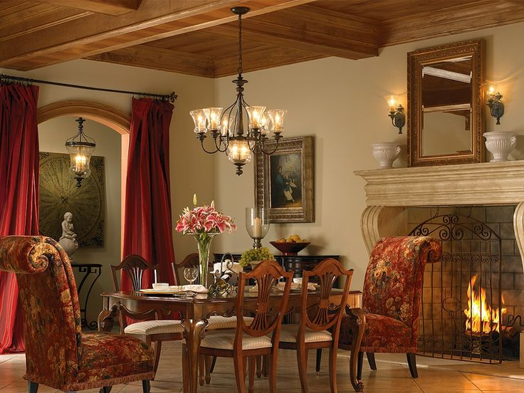 Home design, Vintage Wooden Coffered Ceiling Style With Dim Lighting Plus Red Curtain Also Decorative Dining Table Set Near Fireplace: Create a Straightforward Luxury Ceiling Styles