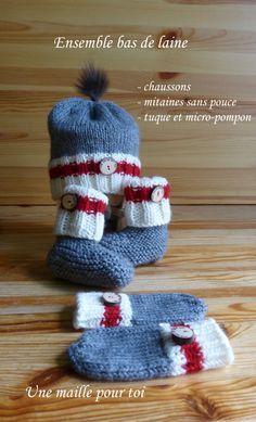 Ensemble Bas de laine pour bébé de la boutique UneMaillePourToi sur Etsy
