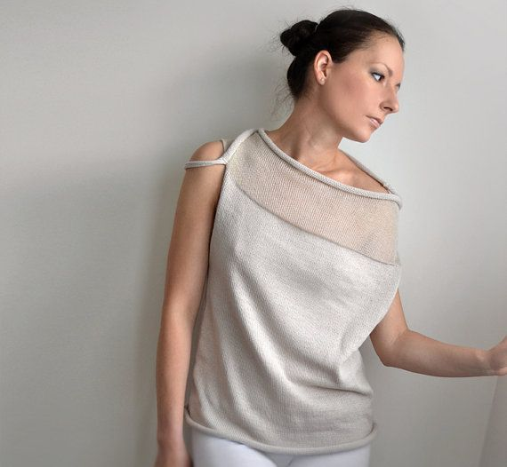 Off Shoulder SweaterLight beige transparent sweater by okapiknits