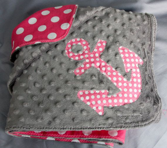 Polka Dot Baby Blanket with Anchor Detail by HarborBeacon on Etsy