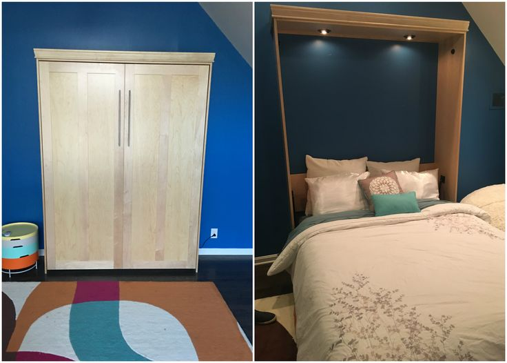 """Our customer from Mission Hills, Kansas chose the BedderWay Vertical Queen Contemporary Face Murphy bed in maple stained Natural with 21"""" brushed chrome contemporary handles."""
