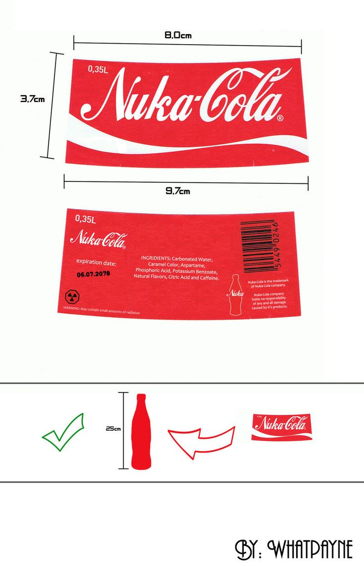 "Here it is. I decided to release this Nuka-Cola Label which I used in My ""Nuka-Cola Fallout style"" deviation. You can see it here. Just in case anyone wants to make their own bottles. I added a sim..."