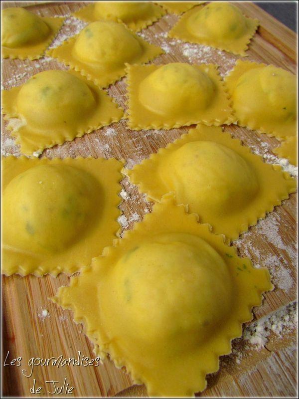 Raviolis parmesan, basilic et ricotta
