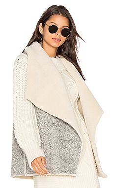 Soft Joie Breese Vest with Faux Sherpa Lining in Heather Grey with Natural Sherpa