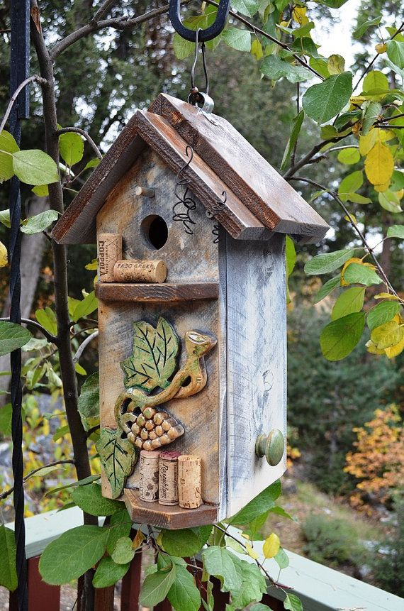 Birdhouse Primitive Wine Cork Storage Box
