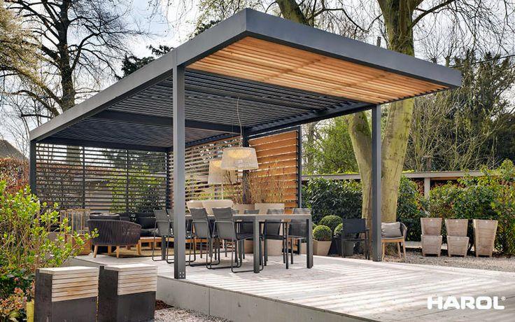 Veldman hout en aluminium lamellen overkapping veldman zonwering - Eigentijds buitenkant terras ...