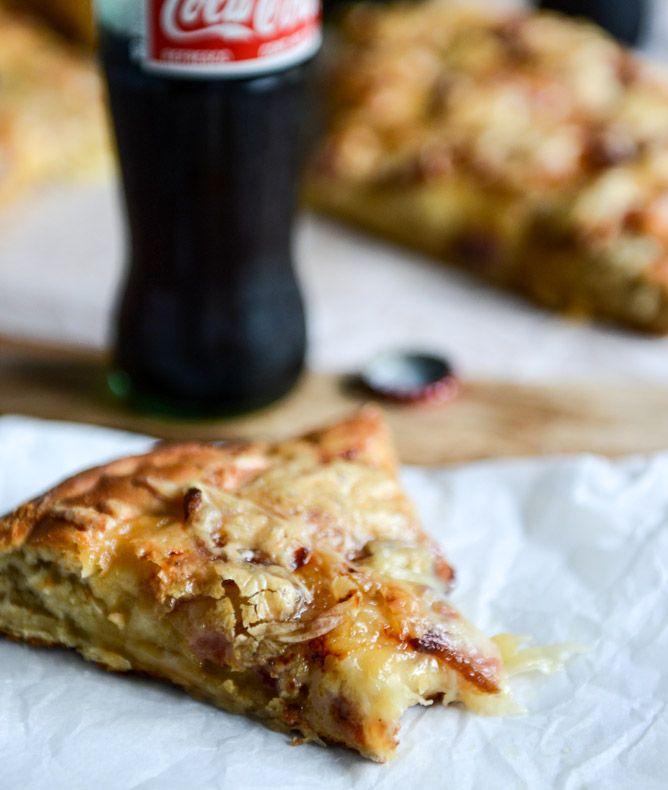 Caramelized Onion, Gruyere + Pepper Bacon Whole Wheat Pizza