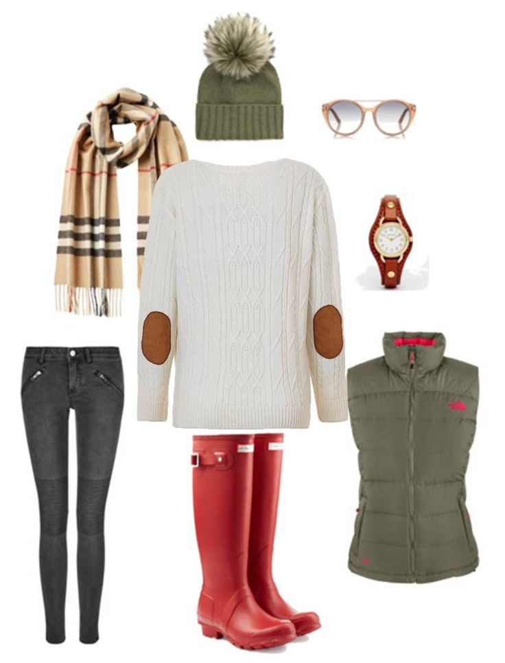 Weekend in the Country - Lady Kate White Cable Knit Boyfriend Jumper, Burberry scarf, Inverni beanie, Tom Ford sunnies, Coach watch, The North Face gilet, Hunter boots and BLK DNM biker jeans.