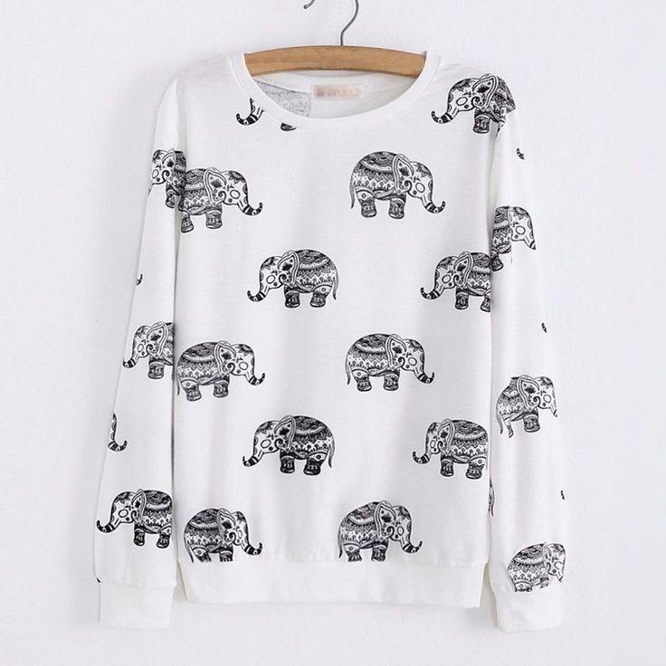 Elephant Print Long Sleeve Tracksuit Pullover Sweatshirt