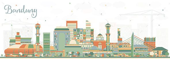 Bandung Indonesia City Skyline With Color Buildings City Skyline Kansas City Skyline City Skyline Silhouette
