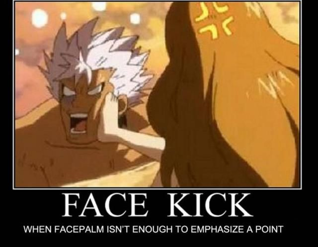 "8 Funny Fairy Tail Memes: ""Face Kick"" Fairy Tail Meme http://anime.about.com/od/toppicks/ss/8-Funny-Fairy-Tail-Anime-Memes.htm"