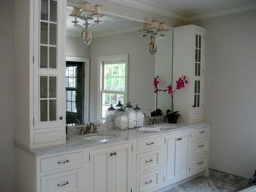 Cabinets bathroom and double vanity on pinterest for Bathroom vanity upper cabinets