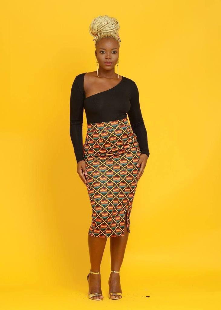 d42692c5a44 African Pencil Skirt - Kente Skirt Yellow   Black Kente – D IYANU ...