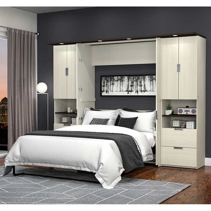 Lumina Full Wall Bed With Two 23 5 Storage Murphy Bed Wall Bed