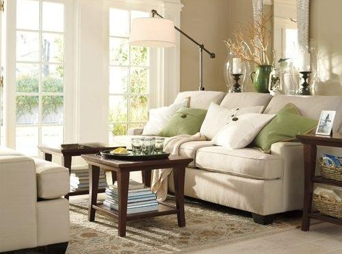 Neutral Living Room With Green And Ivory Accents Part 83