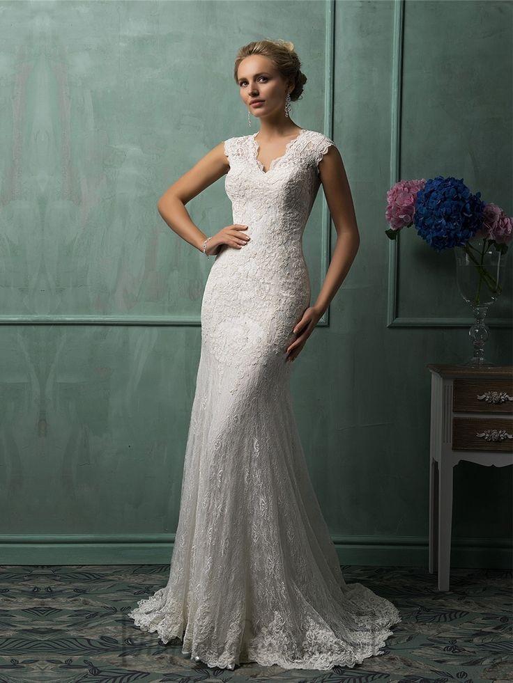 Cap Sleeves Plunging V-neck Lace Wedding Dress