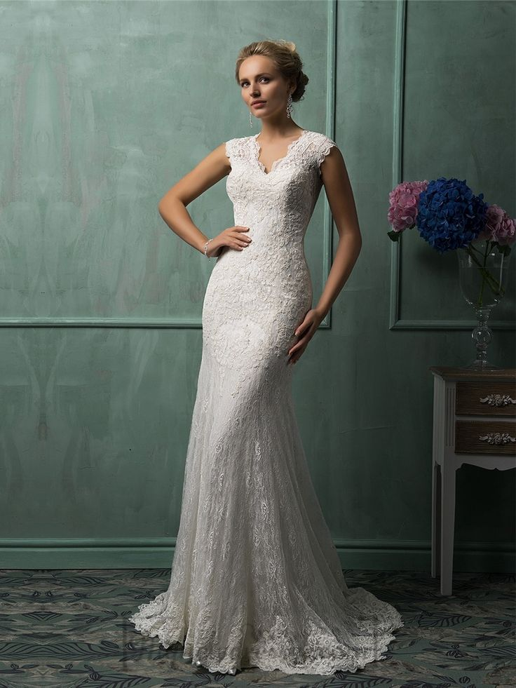 Cap Sleeves Plunging V-neck Lace Wedding Dress