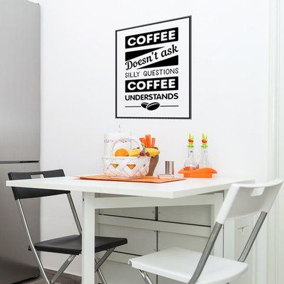 "Style and Apply Coffee - No Questions Wall Decal Color: Pastel Orange, Size: 44"" H x 59"" W"