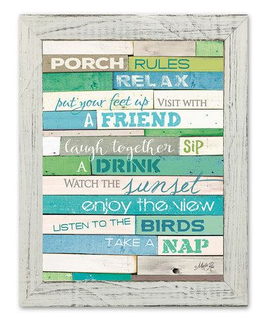 Look what I found on #zulily! 'Porch Rules' Framed Wall Art by Karen's Art & Frame #zulilyfinds