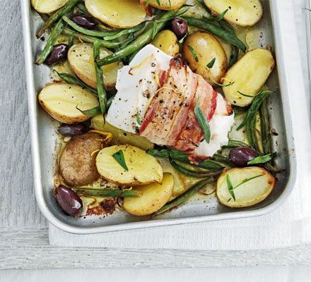 Pancetta-wrapped fish with lemony potatoes - reduce or leave out olive oil for lower calories/fat