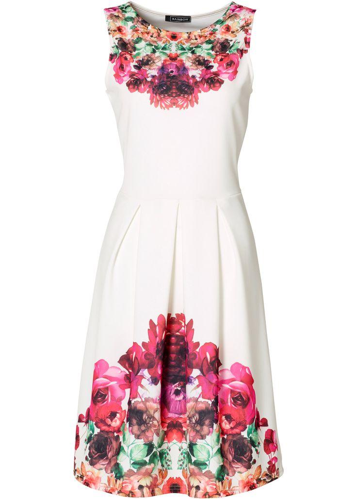 Vestido branco-creme multicolorido encomendar agora na loja on-line bonprix.de  R$ 129,00 a partir de Flower Power! Vestido chique, sem mangas, com linda ...