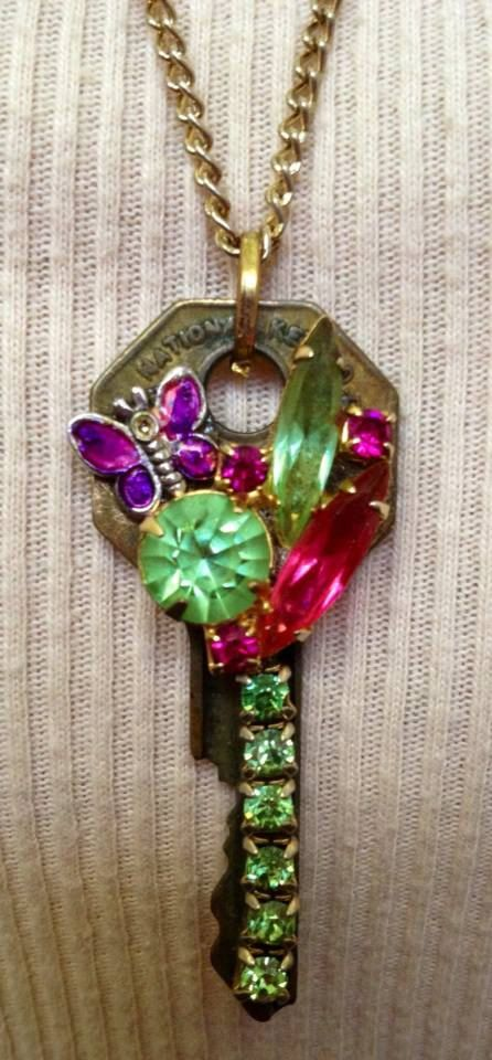 Butterfly Garden Key Necklace Assemblage on Etsy, $18.00