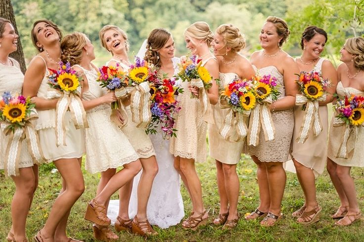 Wolfcrest Photography - Virginia Photographers - Gold bridesmaids dresses and sunflower bouquets