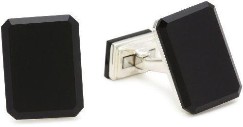 Ron Hami Split Block Emerald Cut Black Onyx and Silver Men's Cufflink Items that are handmade and use natural stones, may vary in size, shape and color. Imported.  #RonHami #Jewelry