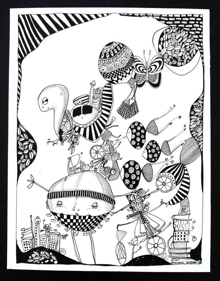 Sort Hvid #1 - 25 x 32. En original kunst tegning af kunstner Marianne Stenberg. Tegningen kommer ikke indrammet.
