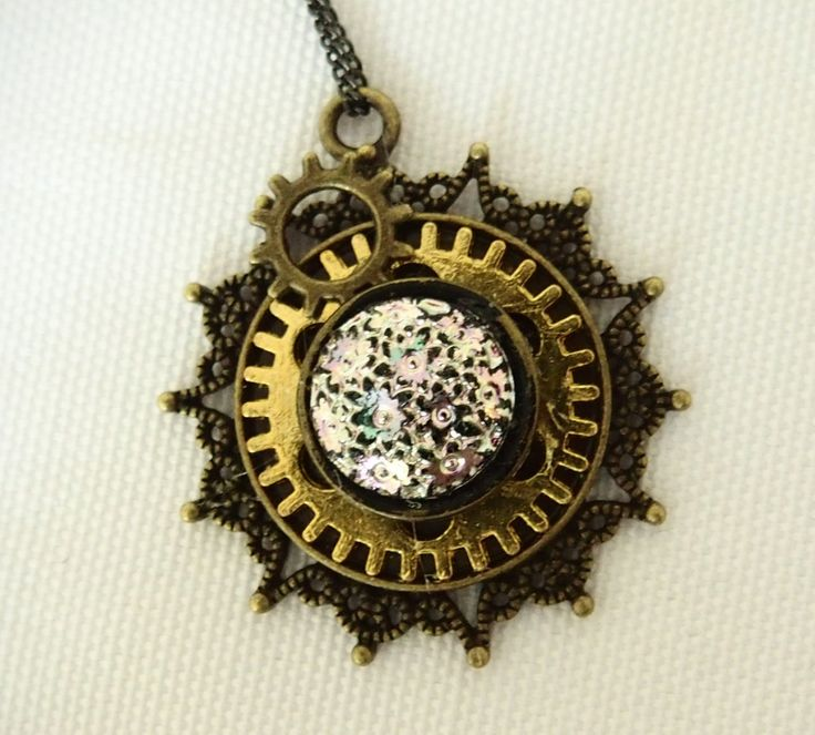 STEAMPUNK PENDANT GLASS detail, gold and brass cogs, perfect gift for Christmas! by AndroidsandApes on Etsy