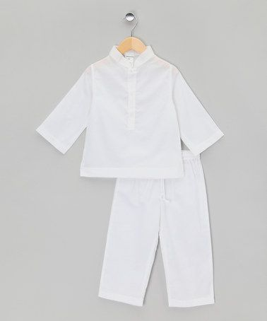 Take a look at this White Mandarin Collar Long Pyjamas - Infant, Toddler & Kids by La Piyama on #zulily today!