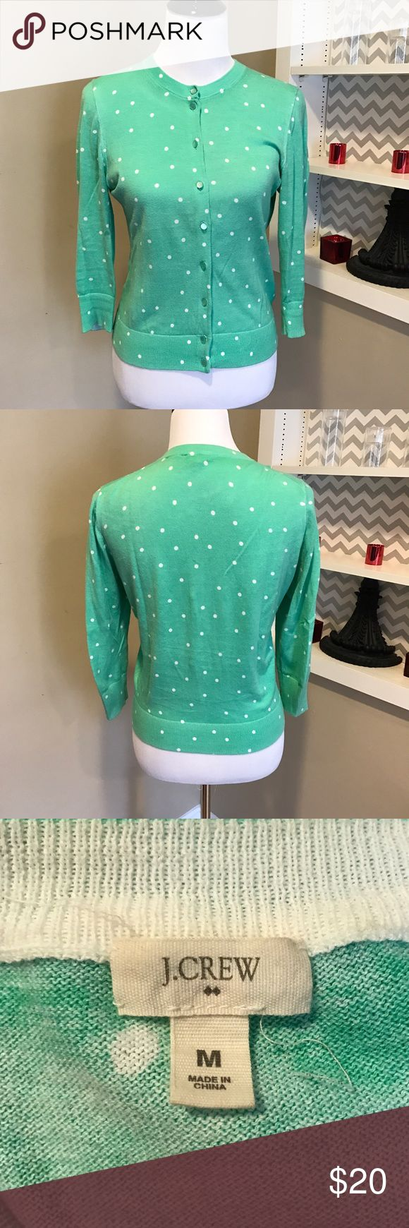 Jcrew mint cardigan Mint cardigan and white polka dots. Worn a few times but in great condition. J. Crew Sweaters Cardigans