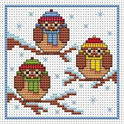 Christmas Owls cross stitch card kit from Fat Cat Cross Stitch Design 8.7cm x 8.7cm14 count white Aida The kit contains fabric, stranded Anchor embroidery threads, needle, easy to follow instructions and chart, card and envelope.  A brand new kit will be sent directly to you by Fat Cat Cross Stitch - usually within 2-4 working days © Fat Cat Cross Stitch