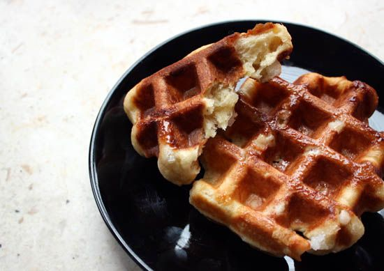 Liege Sugar Waffles Recipe Breakfast and Brunch with yeast, water, granulated white sugar, salt, flour, eggs, melted butter, vanilla extract, ground cinnamon, sugar