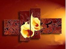 100% ручной росписью абстрактной калла лили картины маслом холстины цветы 4 панель современный стены искусства декора картины для гостиной 4p131(China (Mainland))