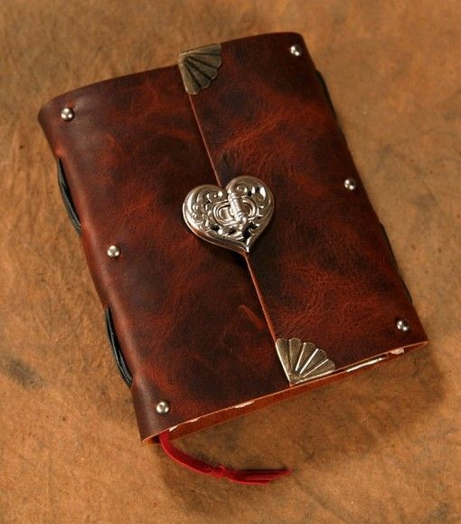 """Leather Journal - Heart Clasp - Brown - Notebook - Diary - Sketchbook 